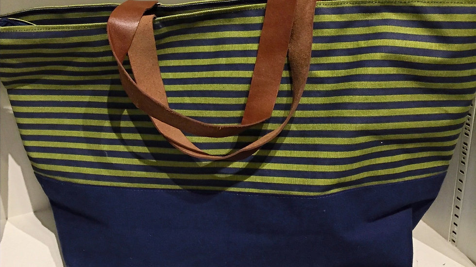 Canvas Tote with Leather Handles