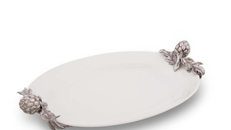 Pewter Artichoke Stoneware Serving Platter