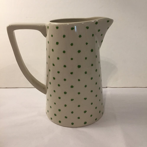 Green Polka Dot Stoneware Pitcher