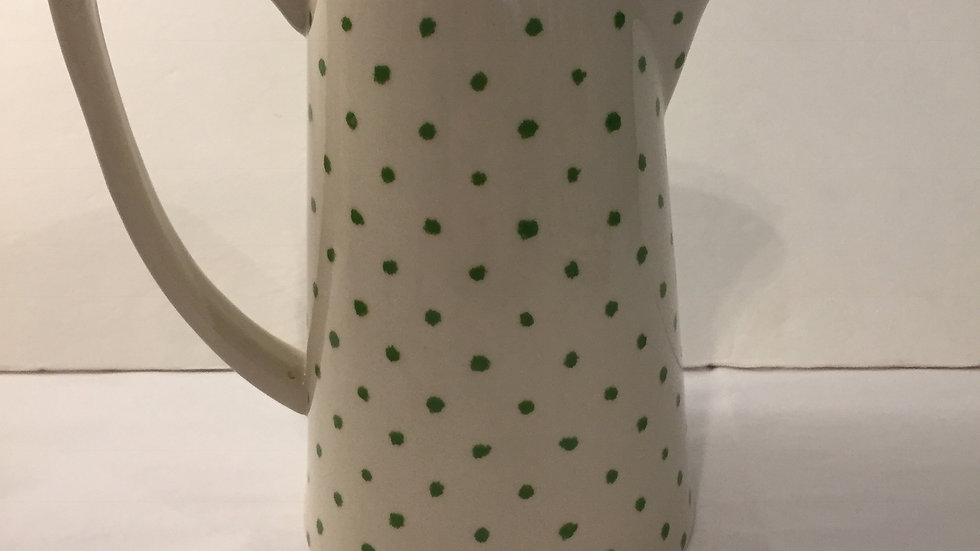 Green Polka Dot Stoneware Pitcher