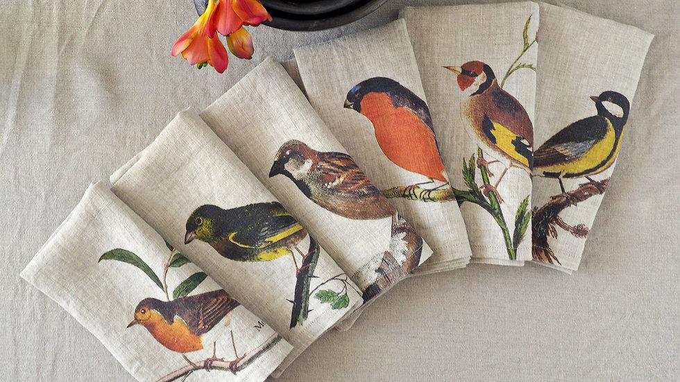 Set of 6 Linen Napkins with Garden Birds