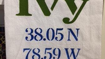 Ivy Longitude/Latitude Flour Sack Towel