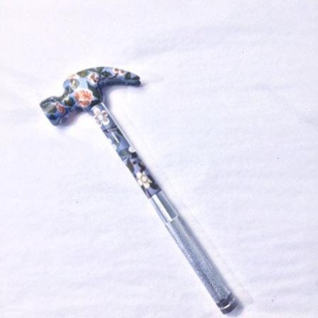 V&A Blue Floral Pattern Hammer & Screwdriver Set