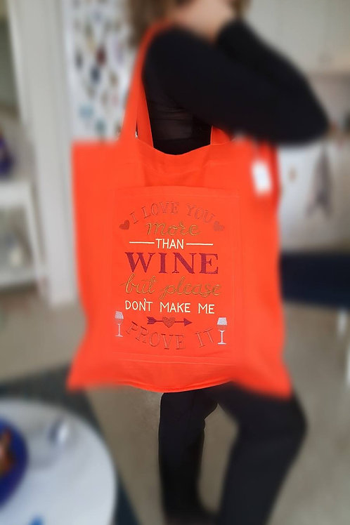 Embroidered Shopping Bag Scarlet Red Color
