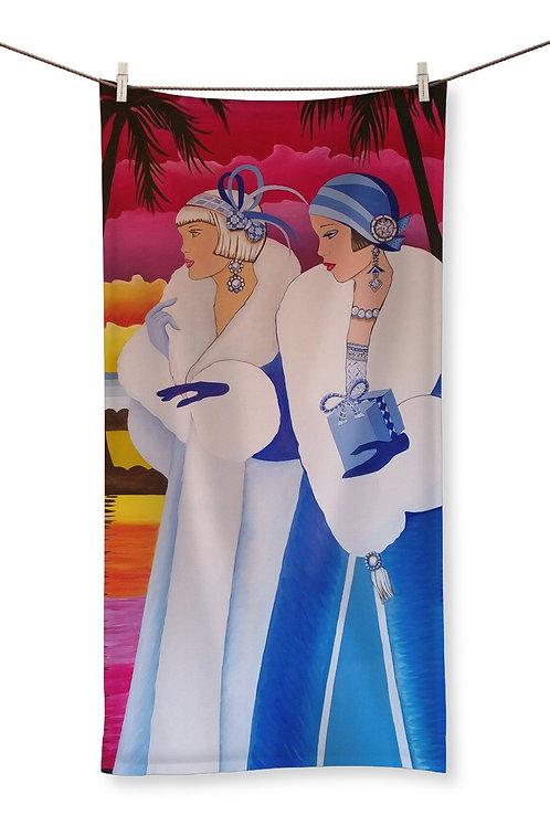 Palm Beach Blue Art Deco Towel