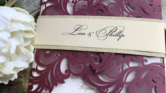 Burgundy Square Laser Cut Choice of Colors