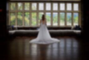 Back of Bride wearing modern wedding dress, Wedding venues South Wales