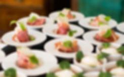 Smoked ham canopes, banquetting hire Wales