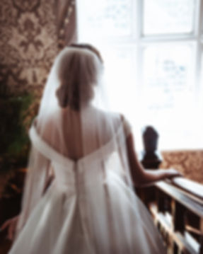 Back of bride to be, wedding venues in South Wales