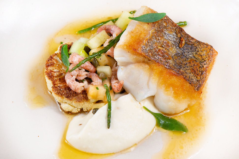 Bass, shrimp and cauliflower - luxury event hire South Wales