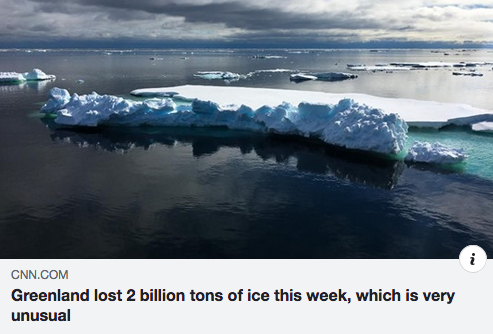 Greenland lost 2 billion tons of ice this week, which is very unusual