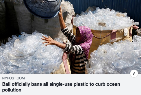 Bali has banned the use of single-use plastic items in a bid to cut down on ocean pollution