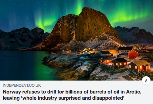 Norway refuses to drill for billions of barrels of oil in Arctic, leaving 'whole industry surprised