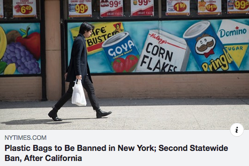 Plastic Bags to Be Banned in New York; Second Statewide Ban, After California