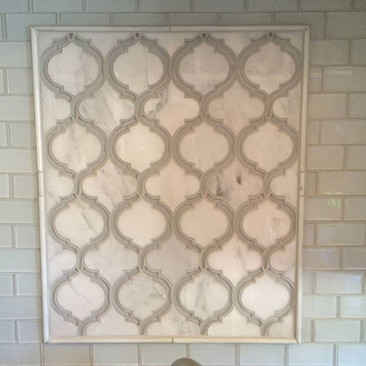 Backsplash with glass and marble mosaic
