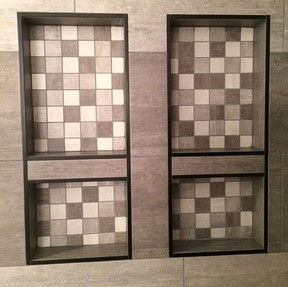 Double wall niche for extra shower storage #besttile #schlutersystems #bathroom #showertile #houzz #timbercreekconstruction
