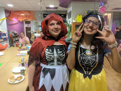 Emily and Nafisa show off their Haloween costumes.