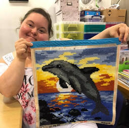 Janine has finished another lovely needlepoint project.