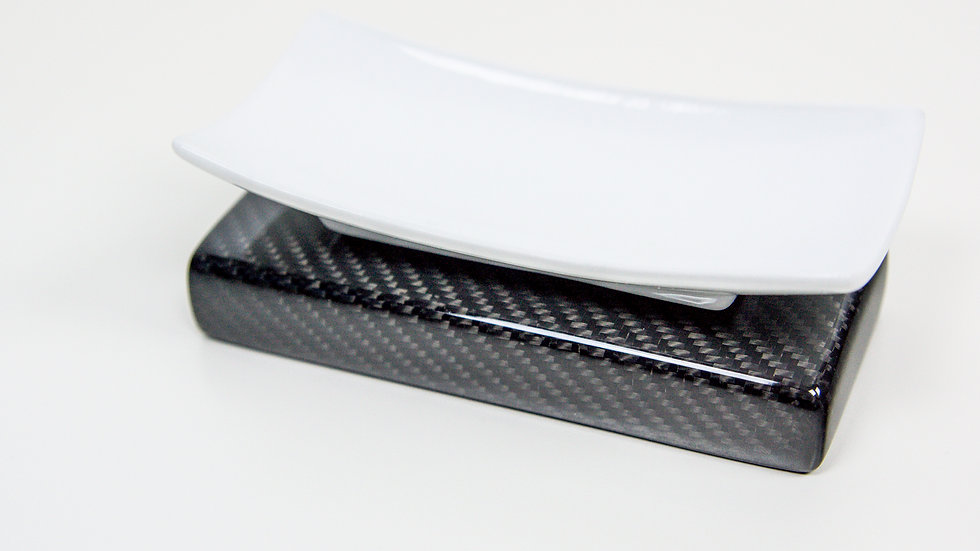 Seifenschale Seifenablage mit Carbon-Sockel / Soap Tray with Carbon Fibre Base