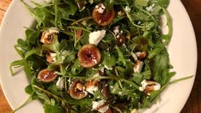 Arugula, Fig, Goat Cheese Salad with a Balsamic-Honey Vinaigrette