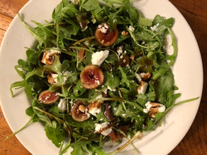 Arugula, Fig, Goat Cheese Salad with a Balsamic-Honey Vinaigrette