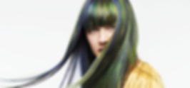 Hair model with blue, green and yellow hair
