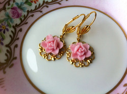 Gold and Pink Rose Earrings