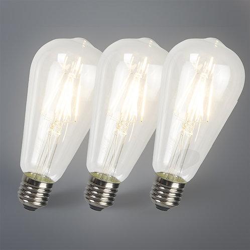 LED lyspære ST64 E27 4W 2700K 3 stk