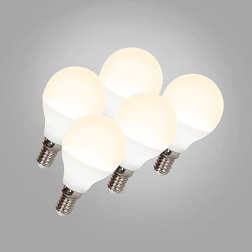 LED G45 E14 3W 3000K 5 stk