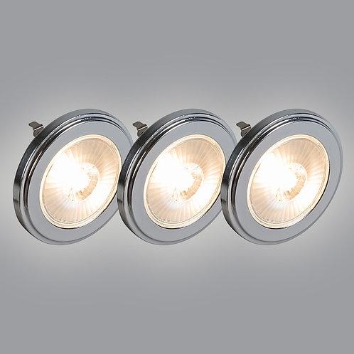 G53 AR111 LED 10W 800LM 3000K dimbar 3 stk