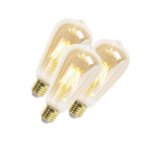 LED Goldline lyspære E27 5W 360LM ST64 dimbar 3 stk