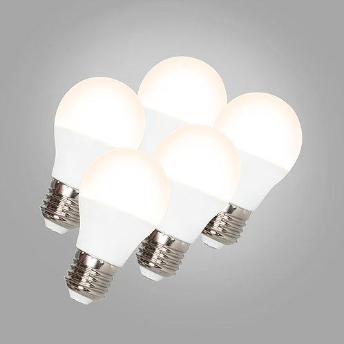 LED G45 E27 5W 3000K 5 stk