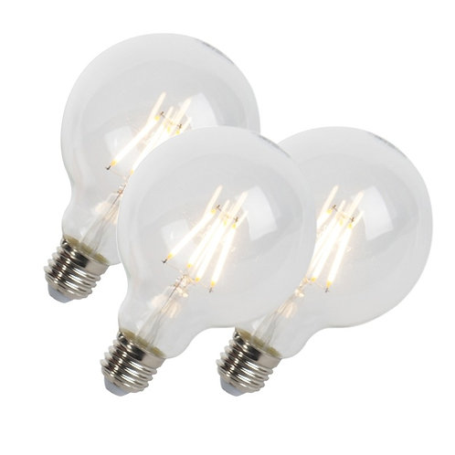 LED lyspære E27 5W 470LM G95 dimbar 3 stk