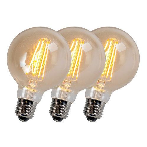 LED G95 5W 2200K gull dimbar 3 stk