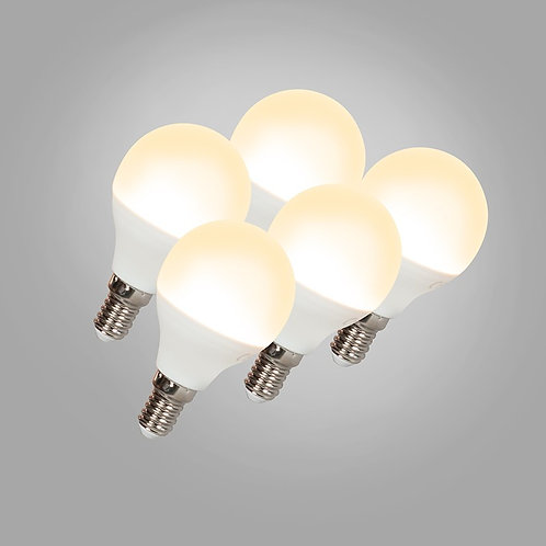LED G45 E14 5W 3000K 5 stk