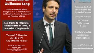 L'IEHI et la Clinique reçoivent Guillaume Long le 7 décembre
