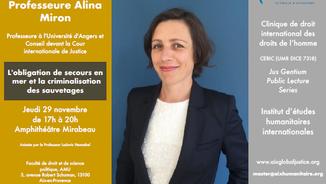 L'IEHI reçoit la Professeur Alina Miron le 29 novembre