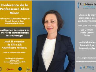 Pr. Alina Miron à Aix pour parler du secours en mer