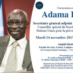 Conversation avec Adama Dieng, Secrétaire général adjoint des Nations Unies, le 14 novembre à Aix-en