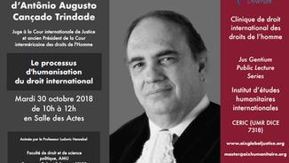 L'IEHI accueille le Juge Cançado Trindade pour une conférence et un séminaire le 30 octobre 2018