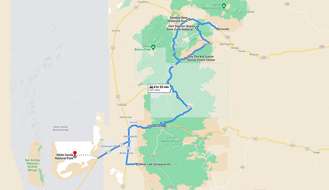 Oliver Lee to White Sands Day Trip Map.j