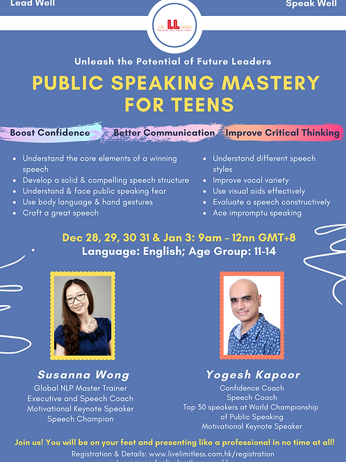 Public Speaking Mastery for Teens (5 Day)