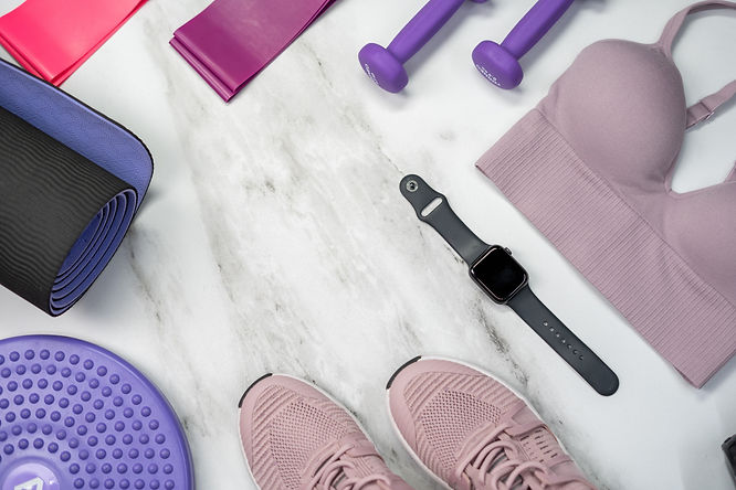 fitness equipment on a marble floor