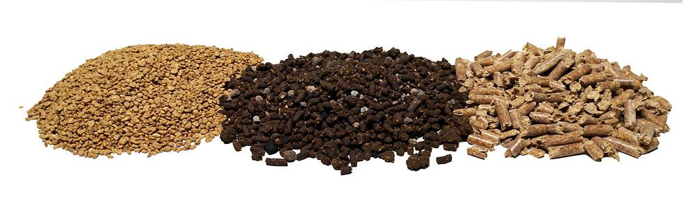 Hueso de aceituna, orujillo y pellets de madera