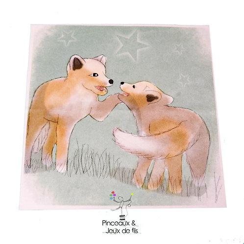 """Coupon tissu carré  velours """"coquins de loups"""" 28x28cm"""