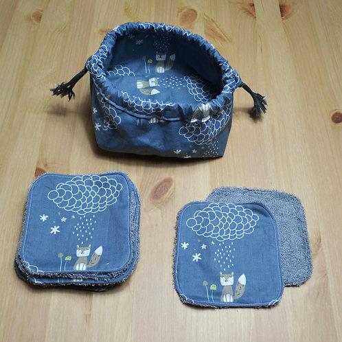 """10 Lingettes lavables enfants """"Petit loup sous la pluie"""" et leur panier"""