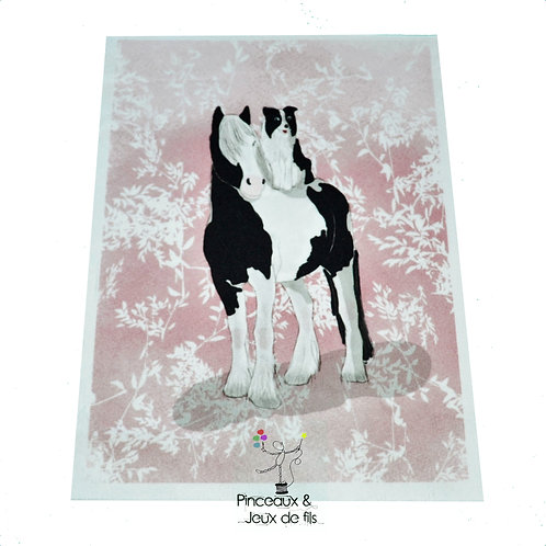 """Coupon tissu 18x25 velours """"Galopin et Cabriole"""""""