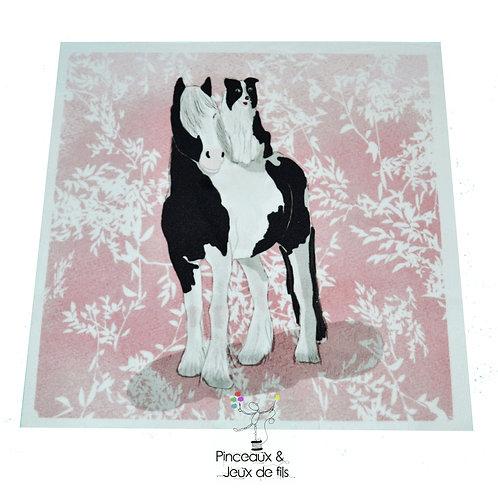 """Coupon tissu carré  velours """"Galopin et cabriole"""" 15x15cm"""