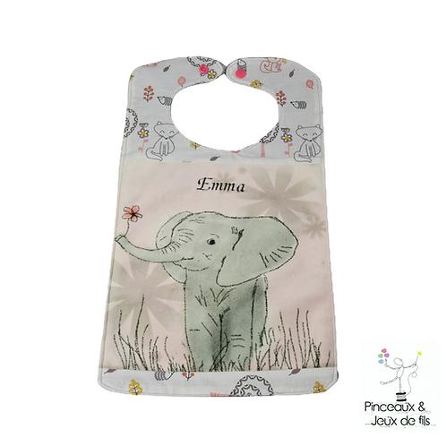 Bavoir prénom brodé Fleur d'éléphant