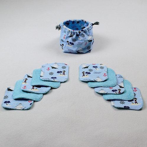 """10 Lingettes lavables enfants  """"Petits pirates"""" et leur panier/pochon"""